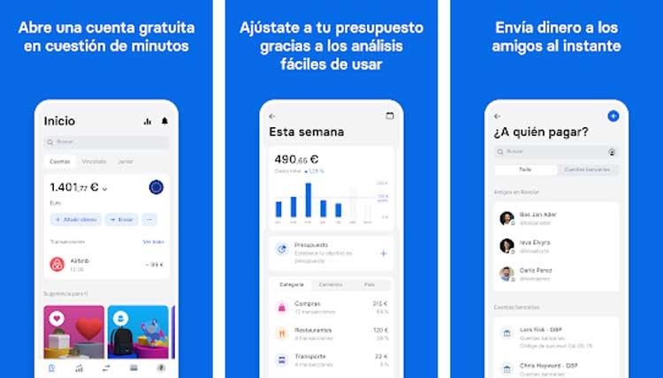 Interfaz gráfica de la app Revolut