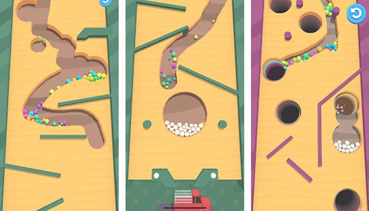 Interfaz gráfica del juego Sand Balls