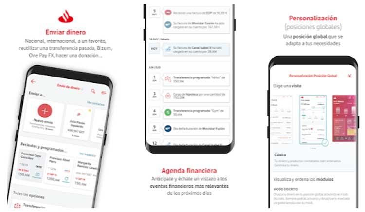Interfaz gráfica de la app Santander