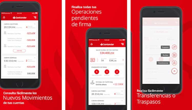 Interfaz gráfica de la app Santander Empresas