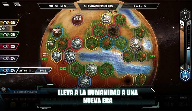 Interfaz gráfica del juego Terraforming Mars