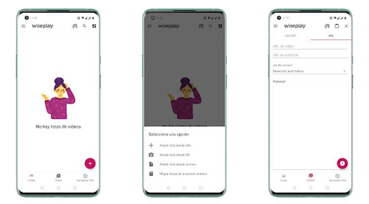 Interfaz gráfica de la app Wiseplay
