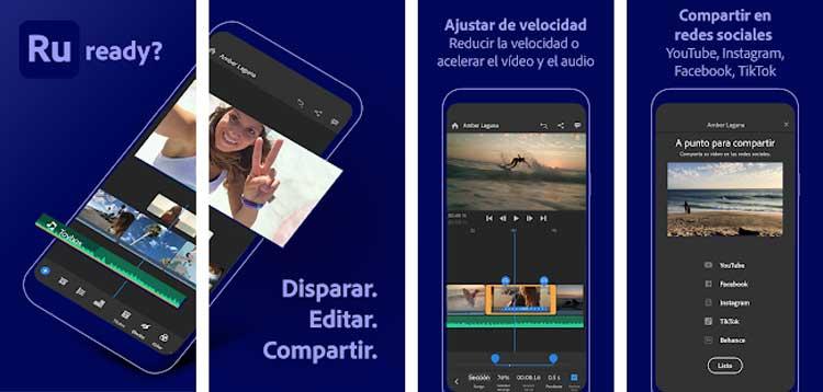 Interfaz gráfica de la app Adobe Premiere