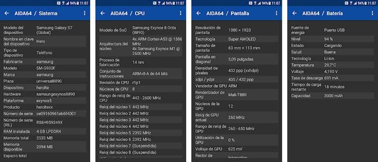 Interfaz gráfica de la app AIDA64