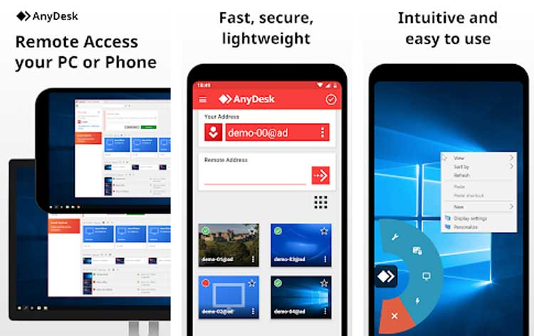 Interfaz gráfica de la app AnyDesk