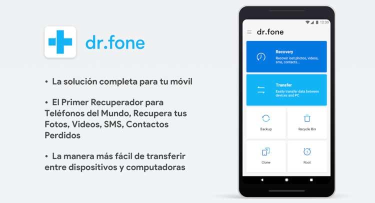 Interfaz gráfica de la app Dr.fone