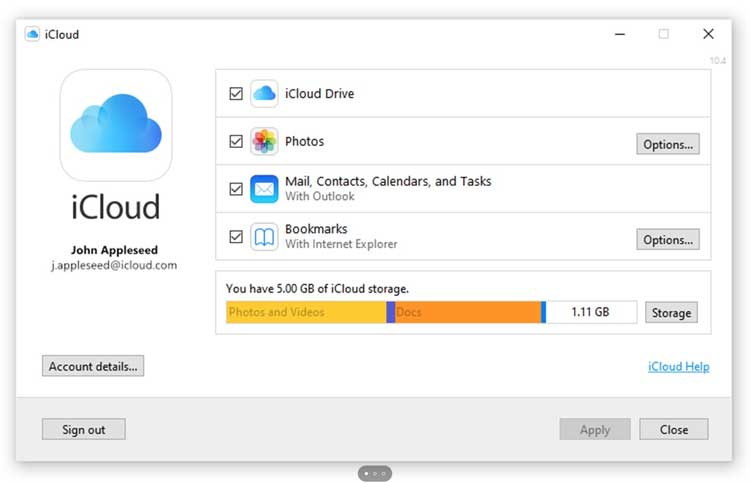 Interfaz gráfica del programa iCloud