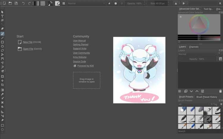 Interfaz gráfica de la app Krita