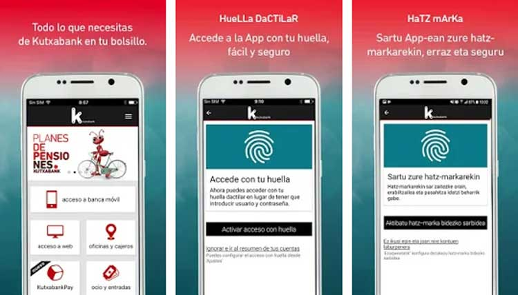 Interfaz gráfica de la app Kutxabank