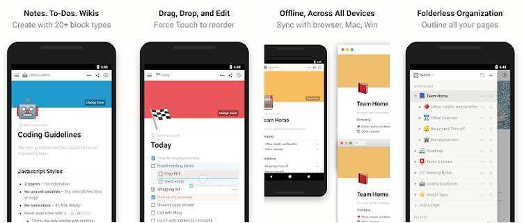 Interfaz gráfica de la app Notion