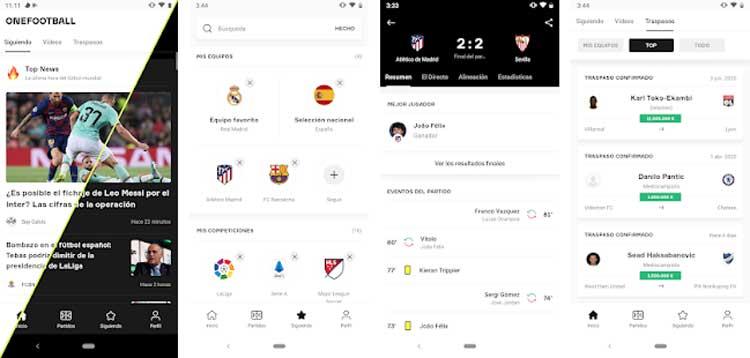 Interfaz gráfica de la app OneFootball