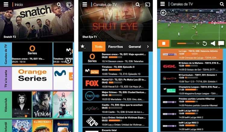Interfaz gráfica de la app Orange TV