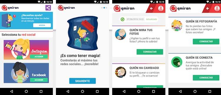 Interfaz gráfica de la app Qmiran