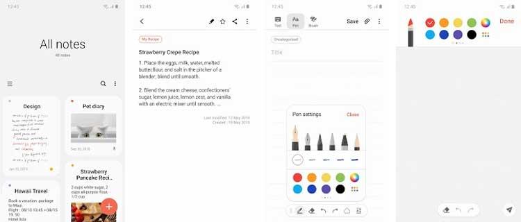 Interfaz gráfica de la app Samsung Notes