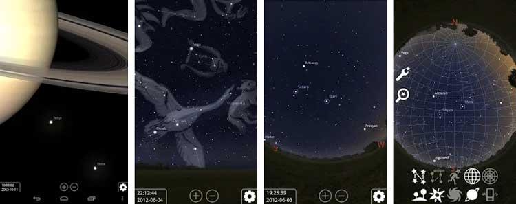 Interfaz gráfica de la app Stellarium