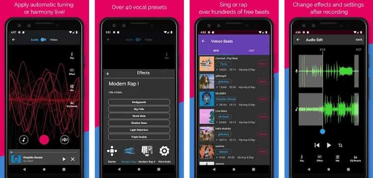Interfaz gráfica de la app Voloco
