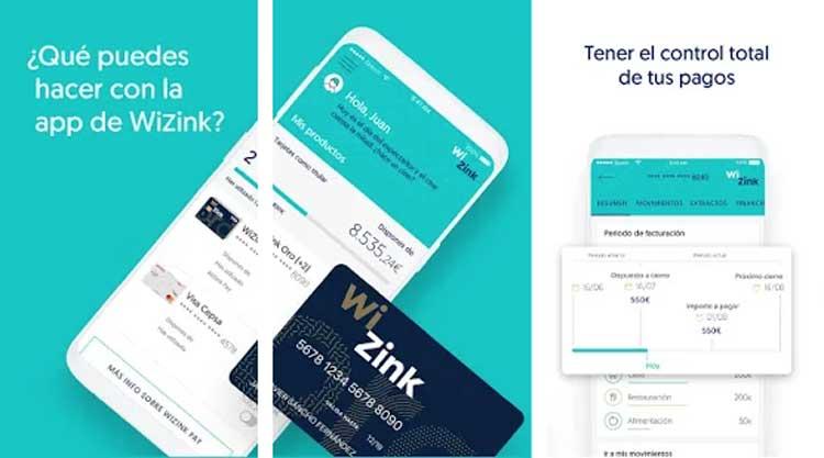Interfaz gráfica de la app WiZink