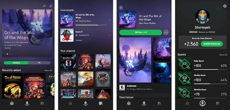 Interfaz gráfica de la app Xbox Game Pass