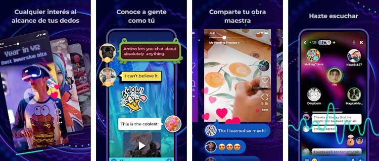 Interfaz gráfica de la app Amino