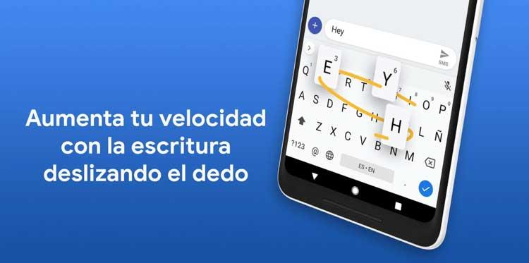 Interfaz gráfica de la app Gboard