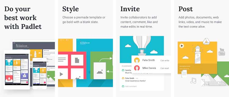 Interfaz gráfica de la app Padlet.