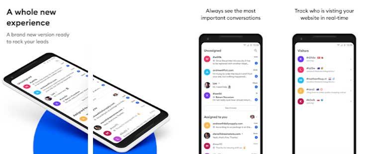 Interfaz gráfica de la app Tidio.