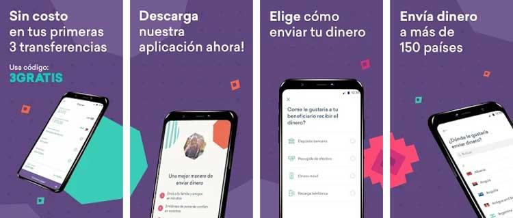 Interfaz gráfica de la app WorldRemit