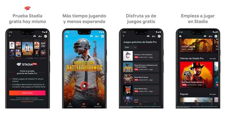 Interfaz gráfica de la app Stadia