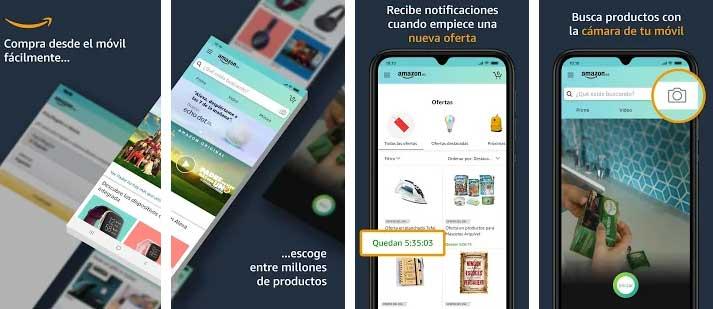 Interfaz gráfica de la app Amazon compras.