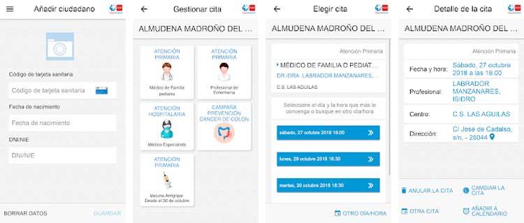 Interfaz gráfica de la app Cita Sanitaria Madrid.