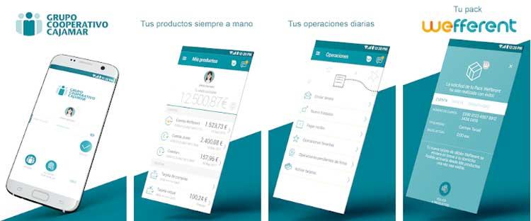 Interfaz gráfica de la app Grupo Cajamar.