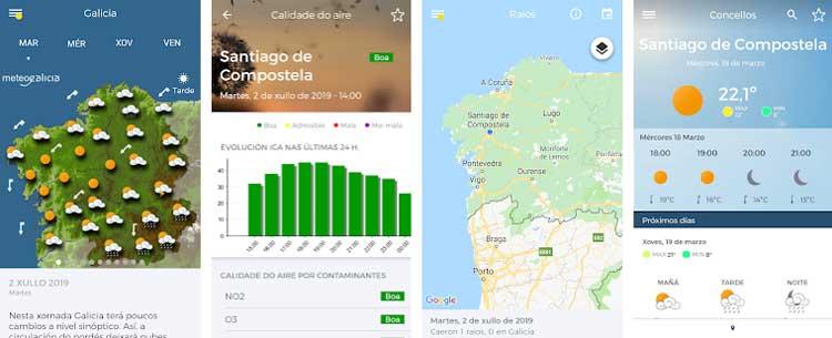 Interfaz gráfica de la app MeteoGalicia.