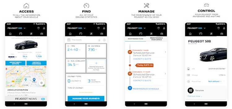 Interfaz gráfica de la app MyPeugeot.