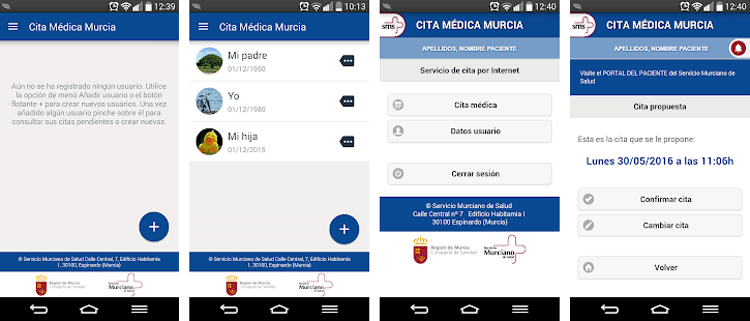 Interfaz gráfica de la app Cita Previa SMS.