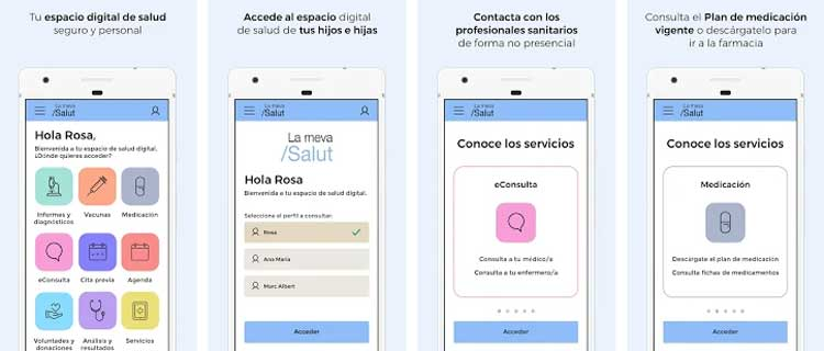 Interfaz gráfica de la app La Meva Salut.